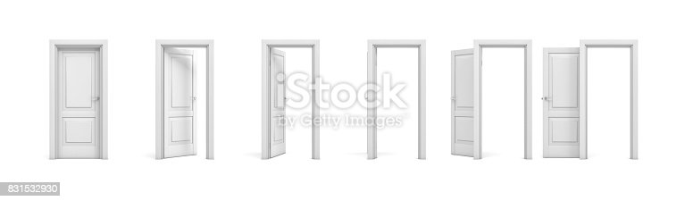 istock 3d rendering set of white wooden doors in different stages of opening 831532930