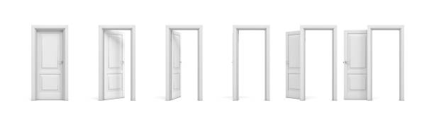 3d rendering set of white wooden doors in different stages of opening - foto stock
