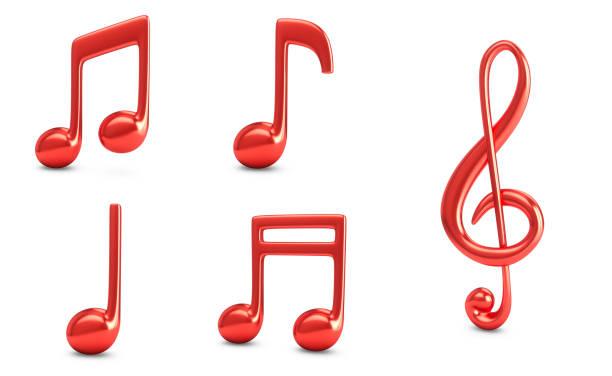 3d Rendering Set Rote Musik Noten isoliert auf weißem Hintergrund – Foto