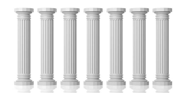 3d rendering seven white marble pillars 3d rendering seven white marble pillars on white background number 7 stock pictures, royalty-free photos & images