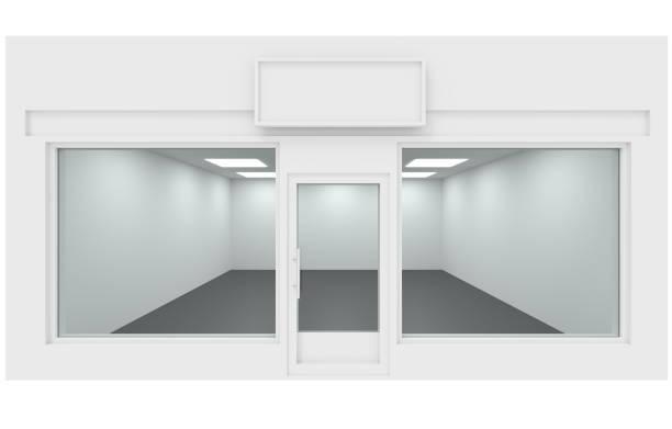 3d rendering loja interior, frente de loja - facade shop 3d - fotografias e filmes do acervo