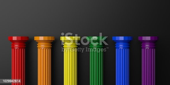 istock 3d rendering six rainbow colored pillars 1029942614
