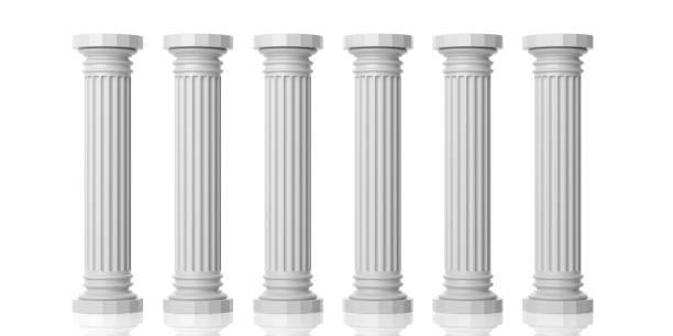 3d rendering sechs weiße marmorsäulen - römisch 6 stock-fotos und bilder