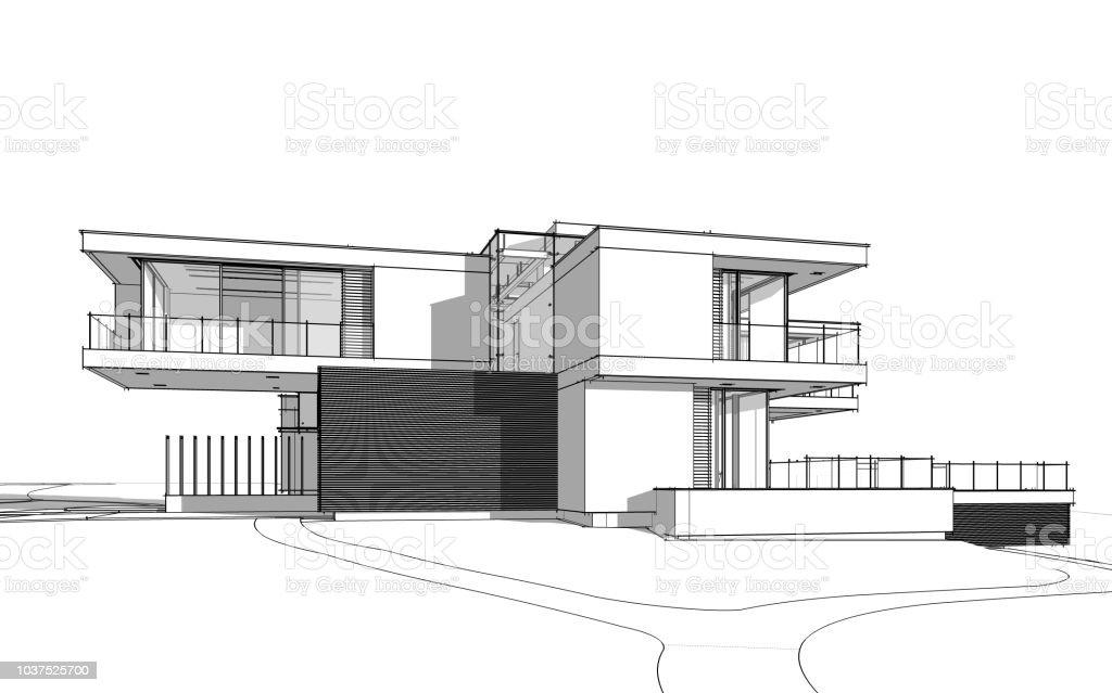 3d rendering skizze des modernen gem tlichen haus schwarze for Fachwerkhaus skizze