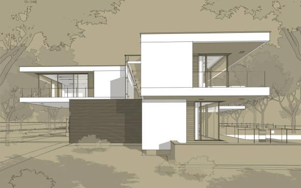 モダンな居心地の良い家の 3 d レンダリング スケッチ。白いスポットと黒い線スケッチ。 ストックフォト