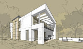 3d rendering  sketch of modern cozy house with garage for sale or rent with large garden and lawn. Hand drawing entourage.