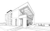 3d rendering  sketch of modern cozy house with garage for sale or rent with large garden and lawn. Black line on white background