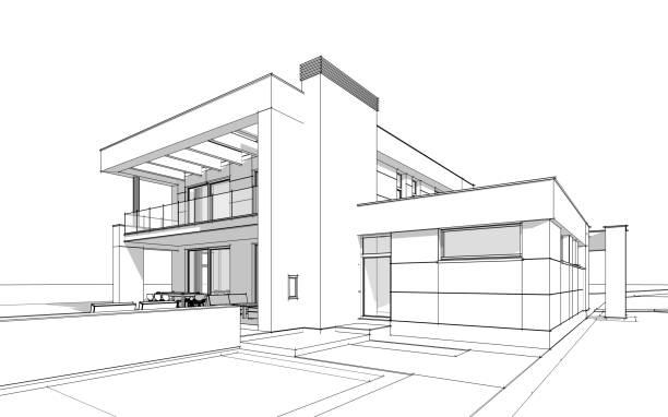 esquisse de rendu 3D d'une maison confortable moderne - Photo