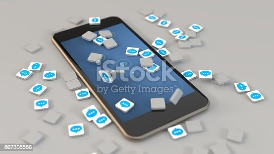 545576042 istock photo 3d rendering smartphone spam messaging icons 867305586