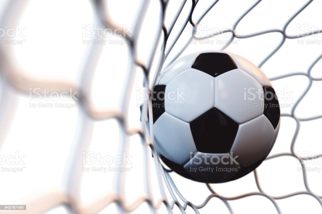 Balon De Futbol Renderizado 3d En Objetivo En Movimiento Balón De