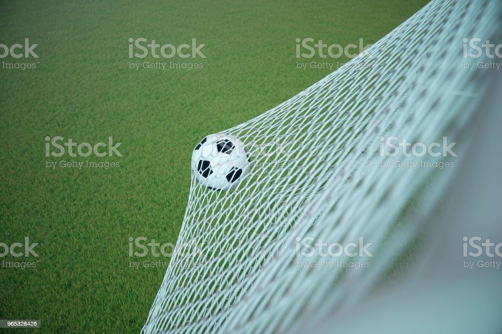 3d. 在球門球中渲染足球。足球在網路上與聚光燈和體育場的燈光背景, 成功的概念。綠草足球 - 免版稅休閒活動 - 主題圖庫照片