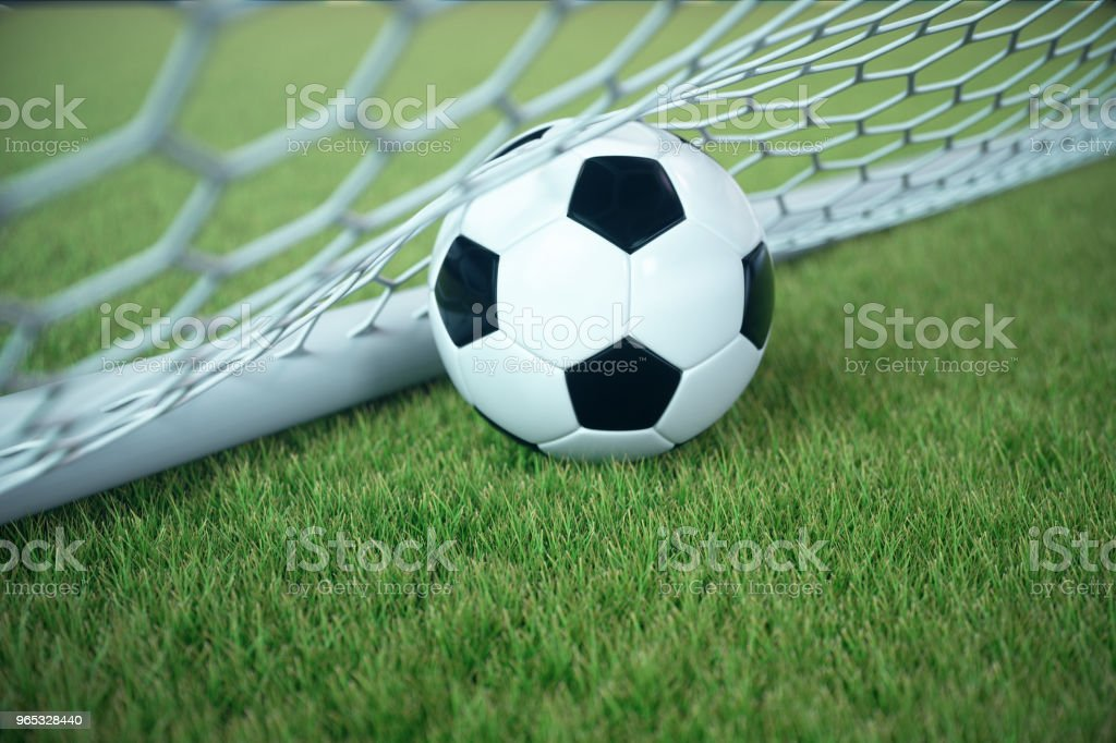 3d rendering soccer ball in goal. Soccer ball in net with spotlight and stadium light background, Success concept. Soccer with green grass zbiór zdjęć royalty-free