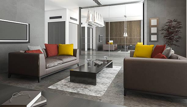 3 d abbildung sofa mit bunten kissen im loft-wohnzimmer - betonboden wohnzimmer stock-fotos und bilder