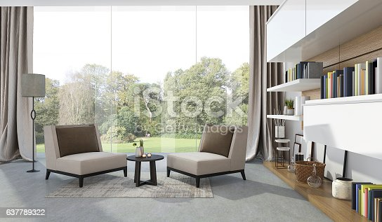 istock 3d rendering soft armchair in living room near garden 637789322