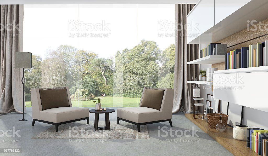 3d rendering soft armchair in living room near garden stock photo
