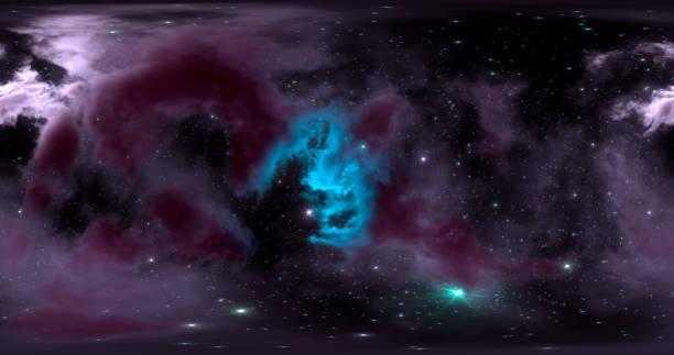 renderizado 3d. fondo espacial con nebulosa y estrellas. mapa hdri del entorno 360. proyección equirectangular, panorama esférico. - 360 fotografías e imágenes de stock