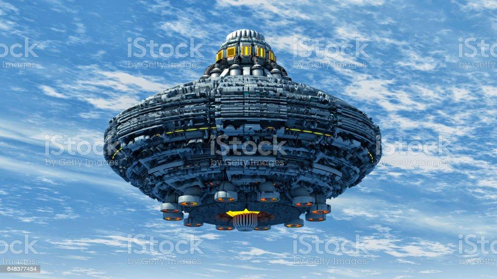 3d rendering. Spaceship UFO concept stock photo