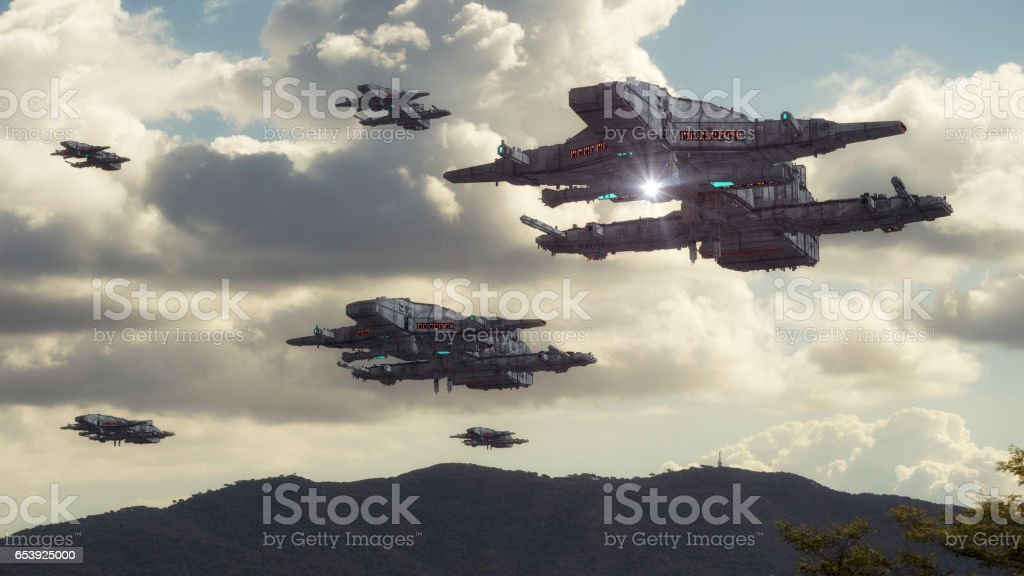 3d rendering. Spaceship UFO concept stock photo