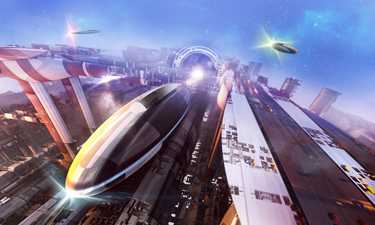 3d rendering of a futuristic world with stylized buidings and spaceships.