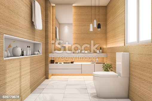 istock 3d rendering spacious and beautiful toilet with white wood design 639779678