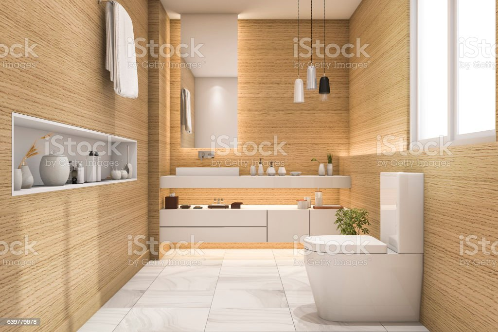 3d rendering spacious and beautiful toilet with white wood design stock photo