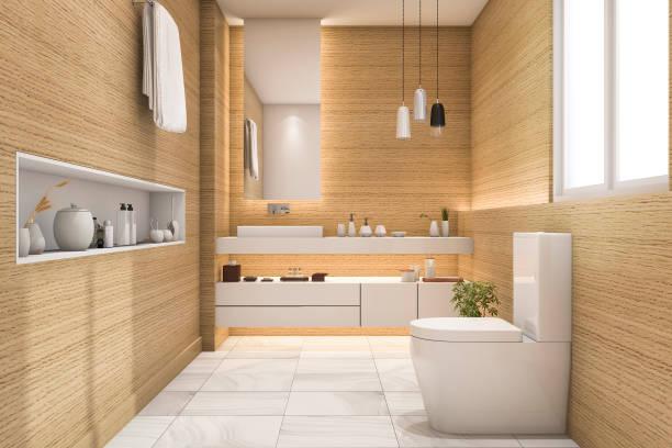 3d rendering spacious and beautiful toilet with white wood design - minimalbadezimmer stock-fotos und bilder