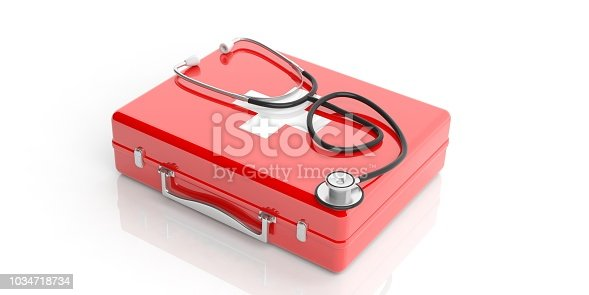 istock 3d rendering stethoscope on a first aid kit 1034718734