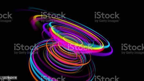 Photo of 3d rendering stylish creative abstract background. colored lines swirling in spiral. Motion design bg of particles shaping lines, helix and abstract structures. 3d render