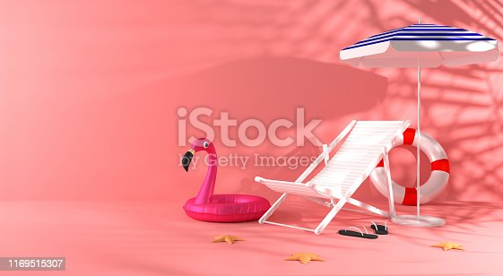 3d rendering summer colored background . A chaise lounge, umbrella, slippers, starfish, inflatable flamingo circle with shadow from palm trees. Copy space