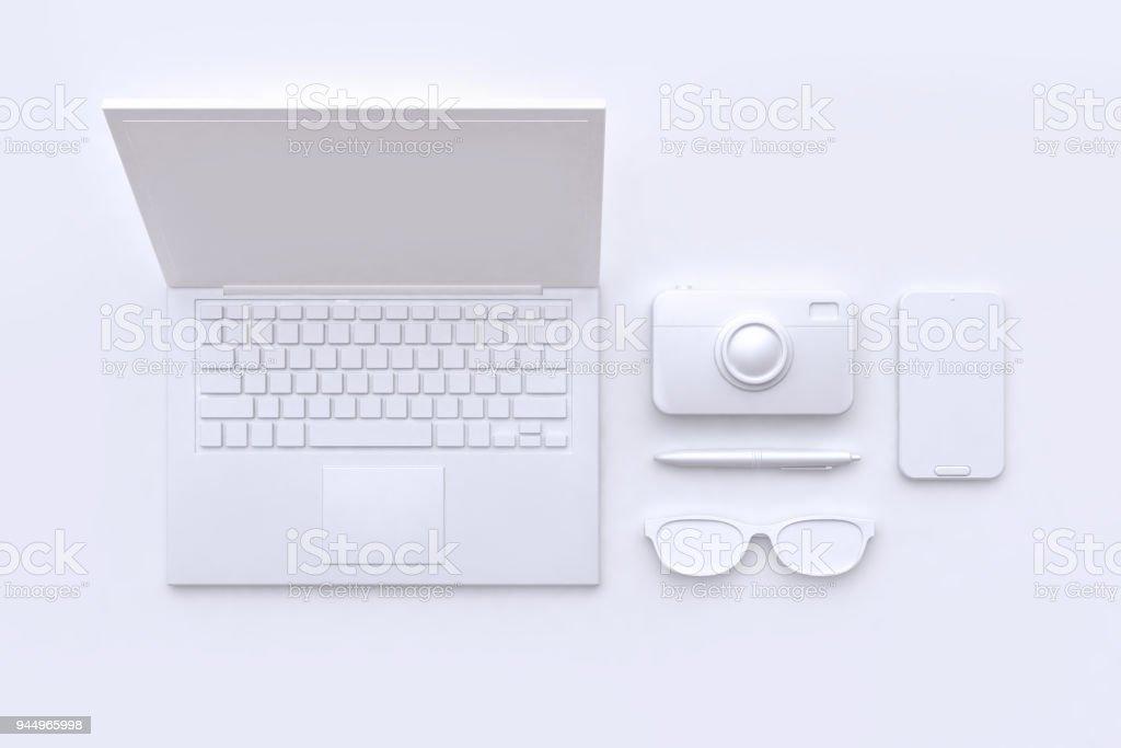 3D renderização tecnologia conceito branco cena abstrata portátil câmera óculos caneta telefone inteligente foto de stock royalty-free