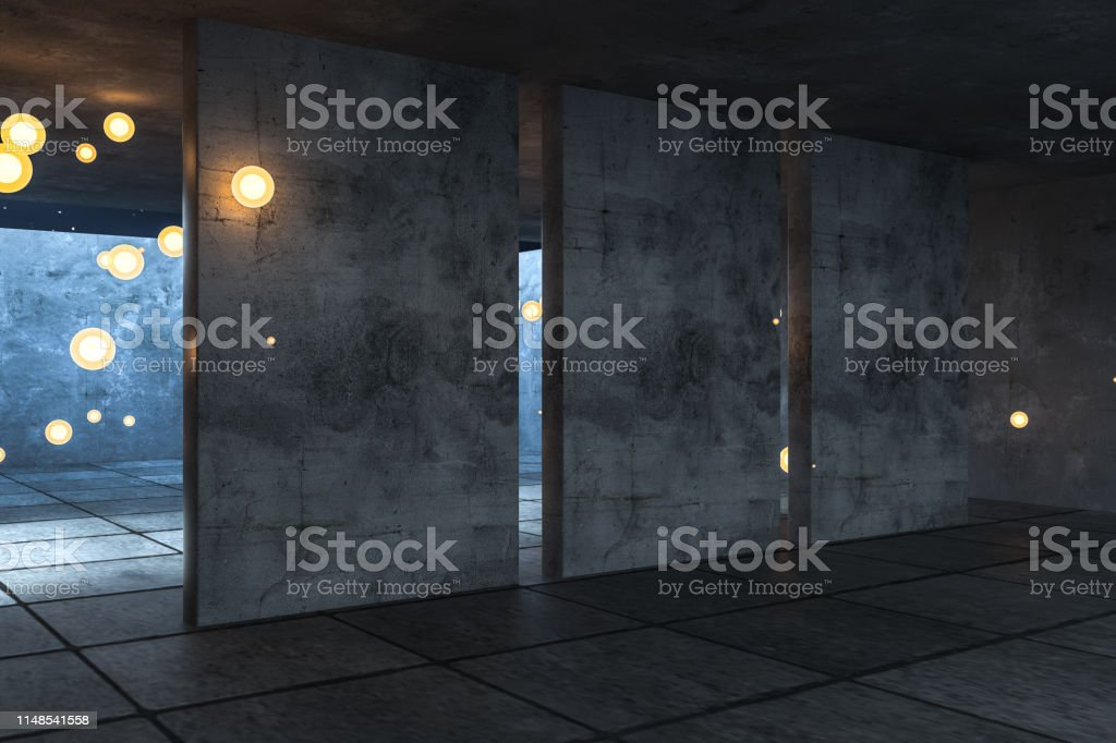 3d rendering, the abandoned empty room at night. Computer digital...