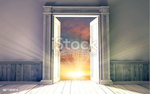 istock 3d rendering the empty room with opened door 467165816