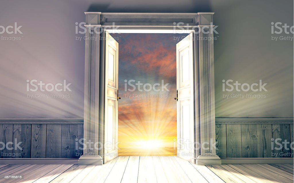 ... 3d rendering the empty room with opened door stock photo ... & Door Open Pictures Images and Stock Photos - iStock pezcame.com