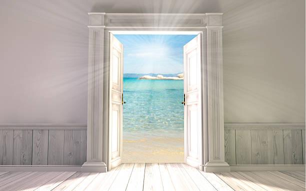 3 d Darstellung der leeren Raum mit Tür geöffnet – Foto