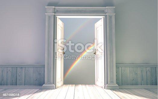 istock 3d rendering the empty room with opened door 467468018