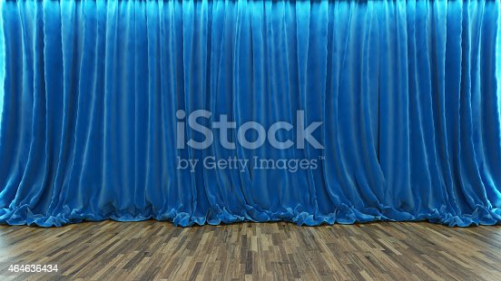istock 3d rendering theater stage with blue curtain and wooden floor 464636434