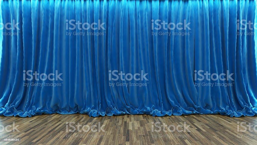 3d rendering theater stage with blue curtain and wooden floor stock photo