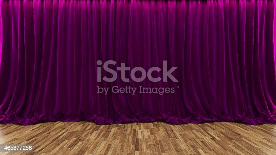 939154550 istock photo 3d rendering theater stage with purple curtain and wooden floor 465377256