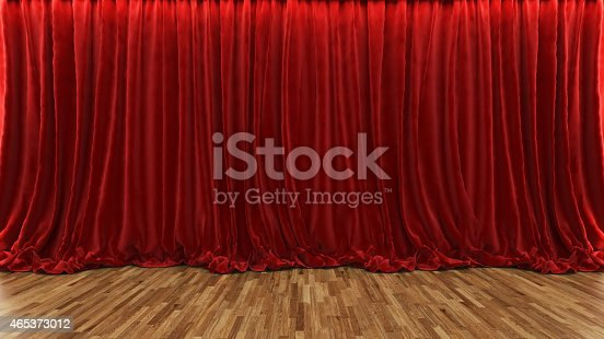 istock 3d rendering theater stage with red curtain and wooden floor 465373012