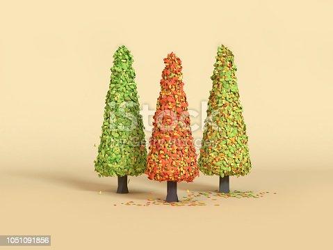 istock 3d rendering three pine tree minimal cartoon style fall/autumn season 1051091856