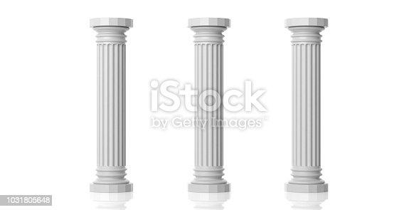 3d rendering three white marble pillars on white background