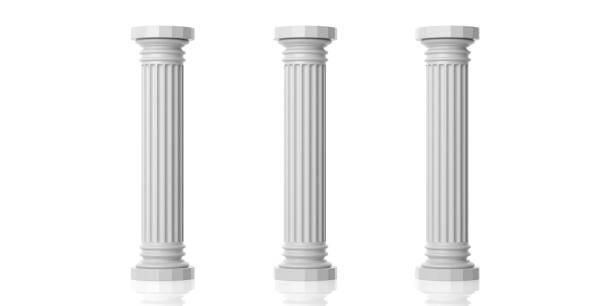 3d rendu trois blancs piliers de marbre - colonne architecturale photos et images de collection