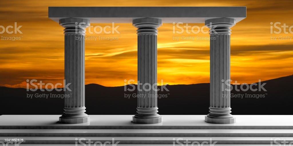 3d rendering three white marble pillars stock photo