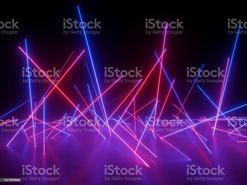 3d rendering, ultraviolet spectrum, neon lights, laser show, night club, chaotic glowing lines, abstract fluorescent background, optical illusion, virtual reality stock photo
