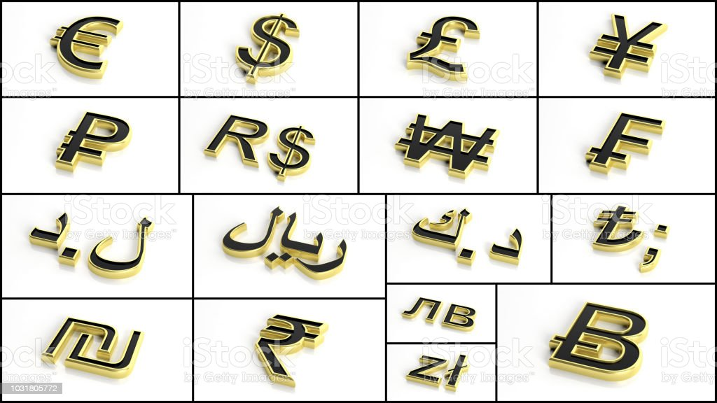 3d Rendering Various Currency Symbols Collage Stock Photo More
