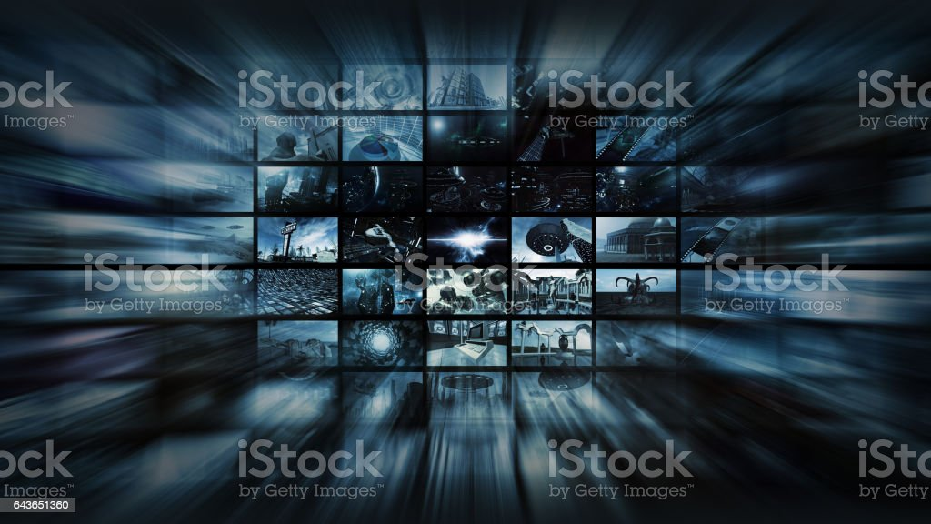 3d rendering. Video wall into space warp stock photo