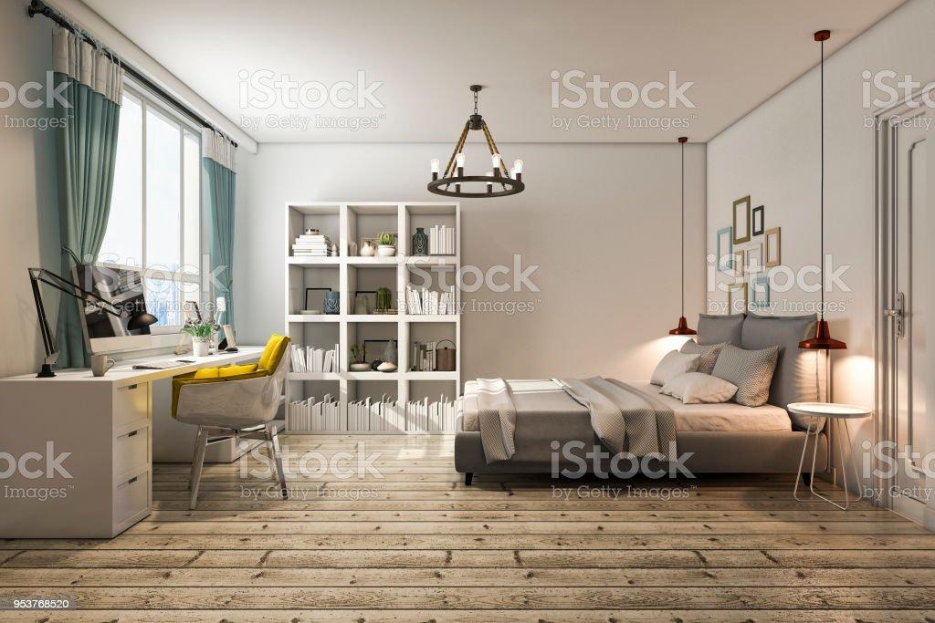 3d Rendering Vintage Schlafzimmer Mit Arbeitstisch Stockfoto ...