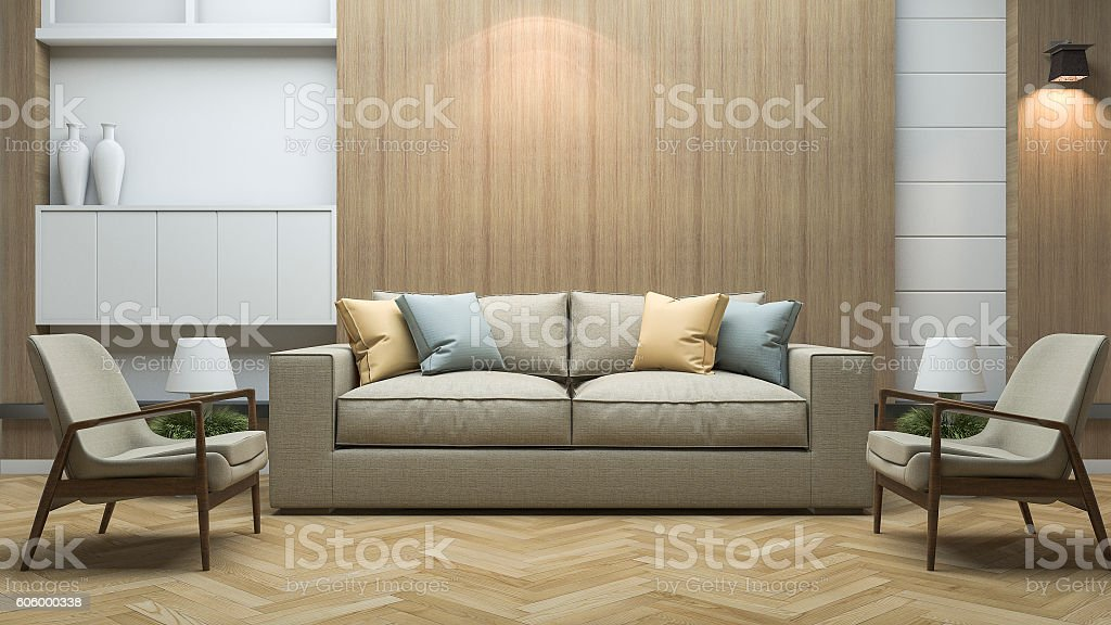 3d Rendering Vintage Style Living Room With Beautiful Decor ...