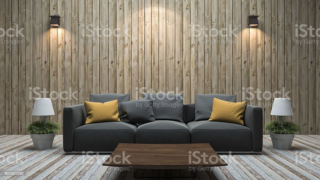 3d rendering vintage wood wall living room with colorful sofa stock photo