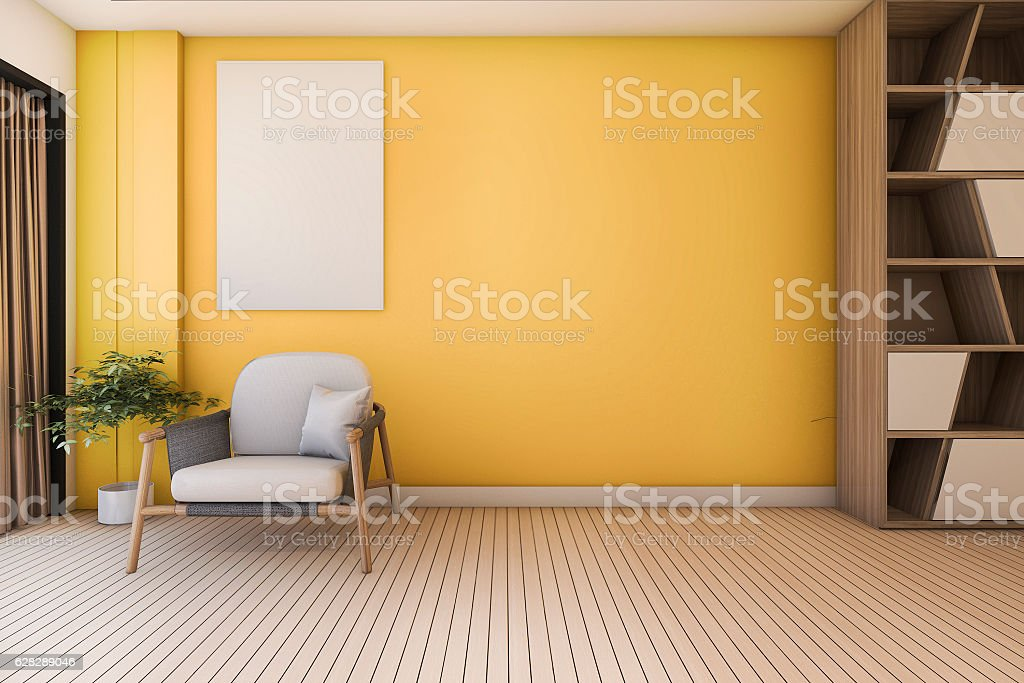 3d rendering vintage yellow living room with armchair stock photo